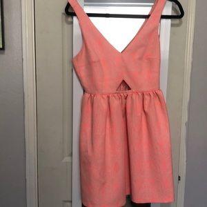 Zara Trafaluc Neon pink cutout dress